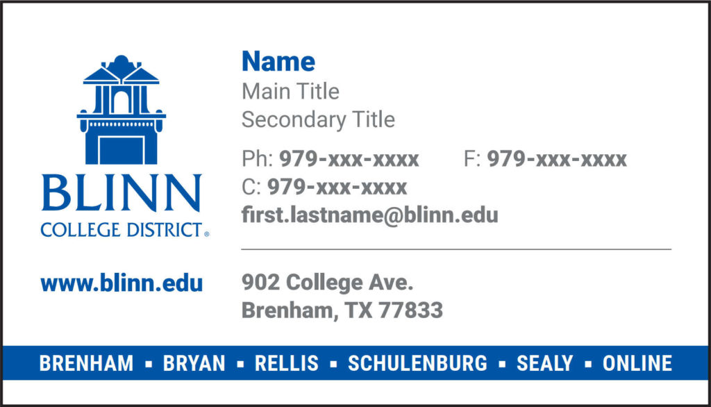 Business Card Template For Brenham Schulenburg Sealy